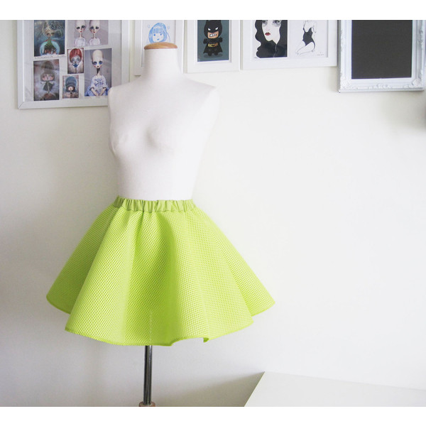 Full chartreuse circle skirt in structured mesh fabric - Polyvore