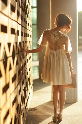 dress white beige flow sheer mesh clothes short lace cap sleeves