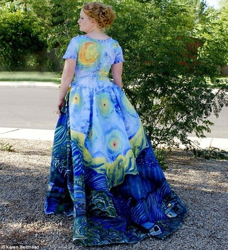 painting art starry night van gogh stars colorful artistic starry night fall outfits summer outfits paint famous blue dress light blue dark blue blue yellow dance prom prom dress homecoming dress curvy