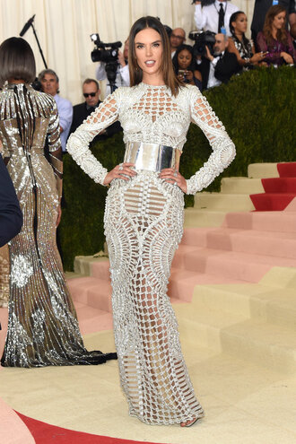 dress bodycon dress belt alessandra ambrosio see through dress metgala2016 sandals met gala balmain silver shoes