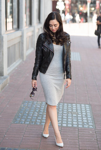 coco and vera blogger black leather jacket grey dress