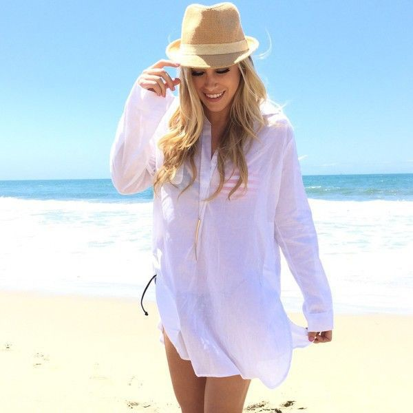 White tunic beach cover up for Beach shirt cover up