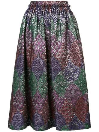 skirt midi skirt midi jacquard floral metallic
