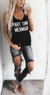 top,part time mermaid,mermaid,mermaid tank,summer,girly