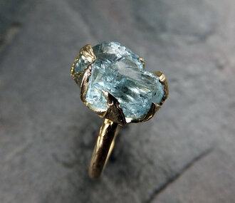 jewels ring pretty light blue claw jewelry gold gems blue wedding accessory