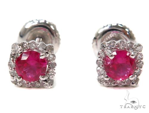 Prong Diamond Earrings 40559 Ladies Diamond Earring White Gold 14k