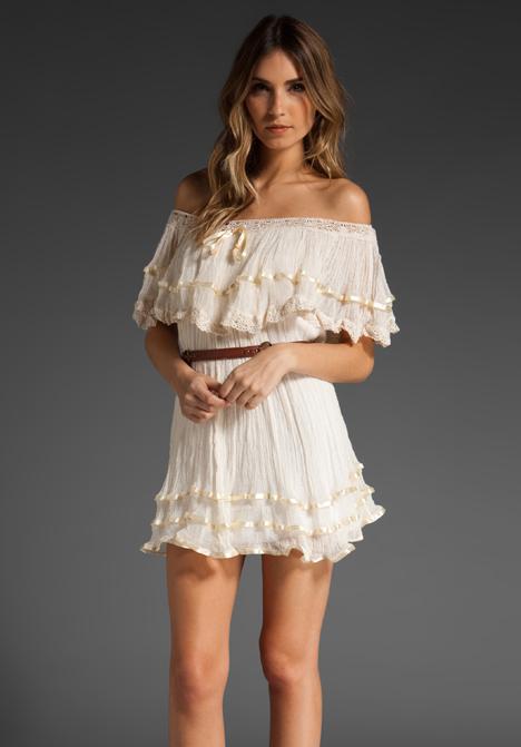 Jen's pirate booty senorita with ribbon mini dress in natural at revolve clothing