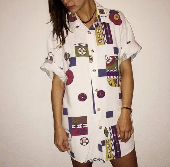 oversized vintage shirt blouse retro fall outfits winter/autumn