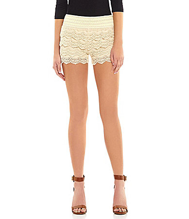 Jolt Tiered Crochet Shorts | Dillards.com