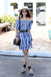 fit fab fun mom,blogger,dress,blouse,belt,shoes,hat,sunglasses,jewels,western belt,double buckle belt,striped dress,mini dress,summer dress,short dress,chanel,chanel bag,chanel boy,black belt,sun hat,off the shoulder,off the shoulder dress,shoulder bag