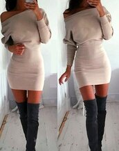 sweater,beige,beige dress,bodycon beige dress,sexy,sexy dress,long sleeves,bodycon dress,fashion dress,tight,off the shoulder,slash neck,moraki,dress,nude,nude dress,all nude everything,kim kardashian nude dress,plus size pink nude body con dress,khaki,short sexy dresses,fashion toast,fashion vibe,fashion is a playground,slash neck dress