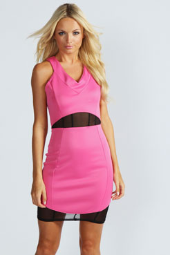 Daisey mesh insert bodycon dress at boohoo.com