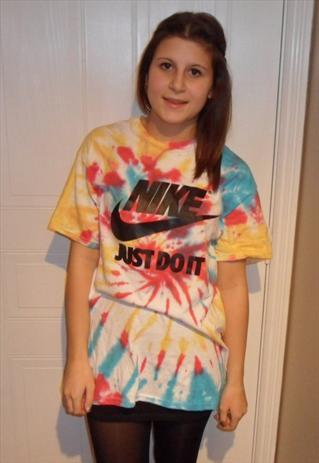 UNISEX diy costumised nike tie dye acid wash t shirt sz M | mysticclothing | ASOS Marketplace