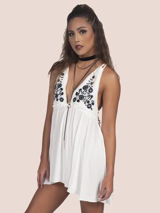 blouse dress tunic floral floral top floral tunic low v neck white dress white top white v neck