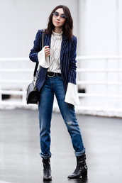 fit fab fun mom,blogger,top,jacket,jeans,shoes,bag,sunglasses,belt,bell sleeves,blazer,shoulder bag