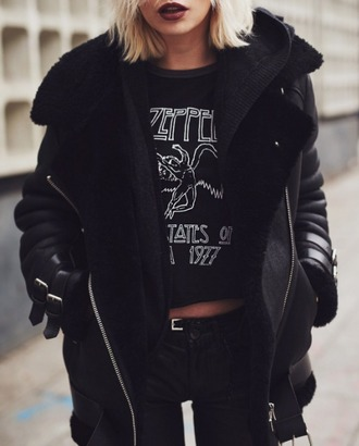 coat fur fur coat leather leather jacket buckles black
