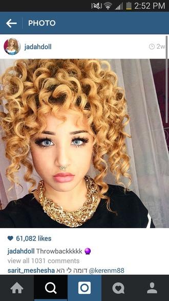jewels piercing septum nose ring opal jadah doll curly hair jadah doll makeup