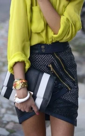 navy skirt gray skirt shirt front zipper
