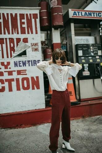 blouse top white top sunglasses tumblr white blouse sweatpants red pants pants