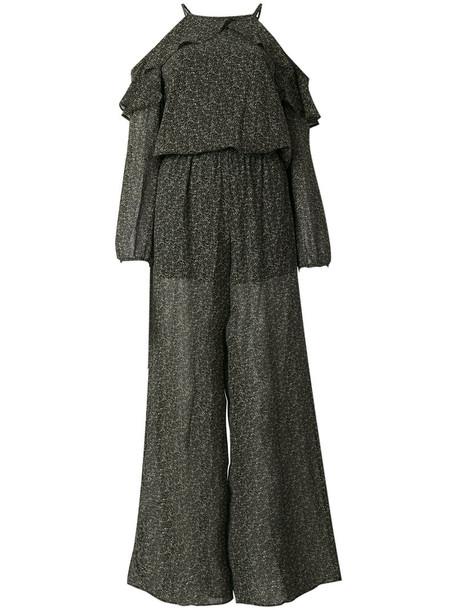 Michael Michael Kors - open shoulder ruffle jumpsuit - women - Polyester - L, Green, Polyester