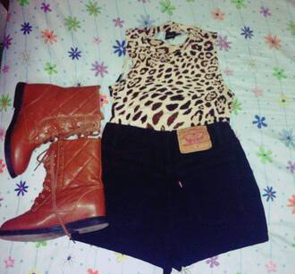 shorts animal print crop top high waisted shorts black black shorts animal print crop tops cropped asos combat boots brown leather boots summer summer outfits summer shorts summer top levi's levi's shorts high waisted levi's shorts