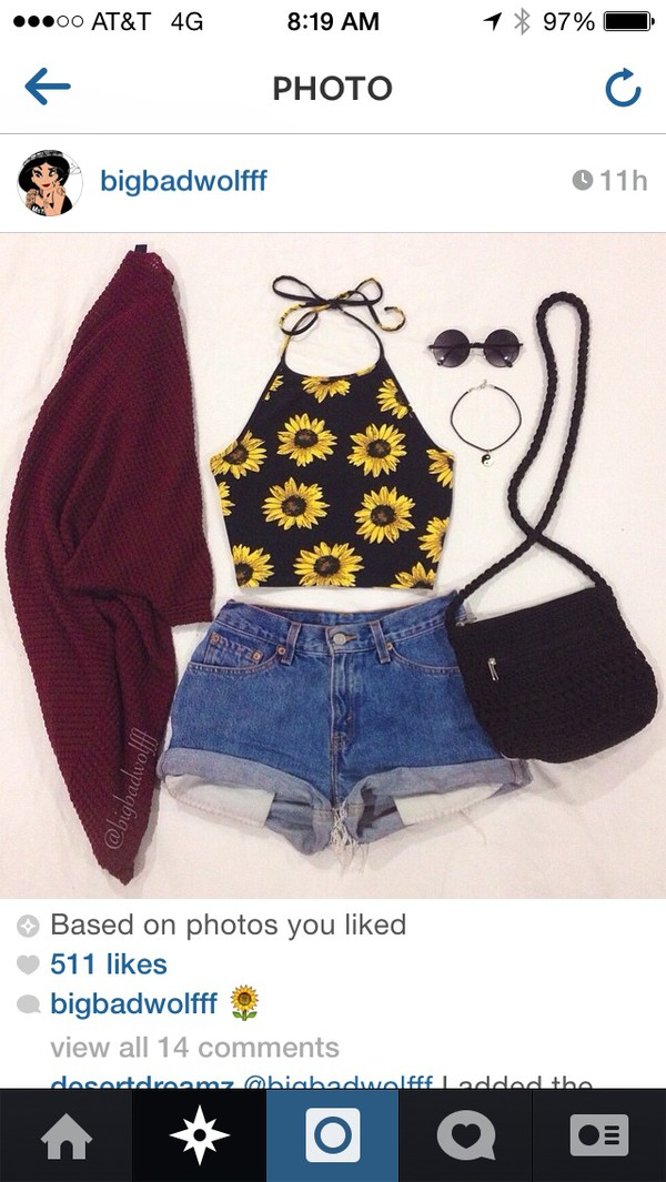 cardigan sunglasses top shorts