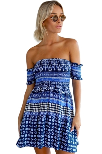 dress zaful ethnic national top bottoms skirt clothes sexy dress cute dress summer dress outfit blue slash girly beautiful fashion off the shoulder