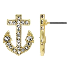 Liz's Rhinestone Anchor Stud Earrings - Gold Tone