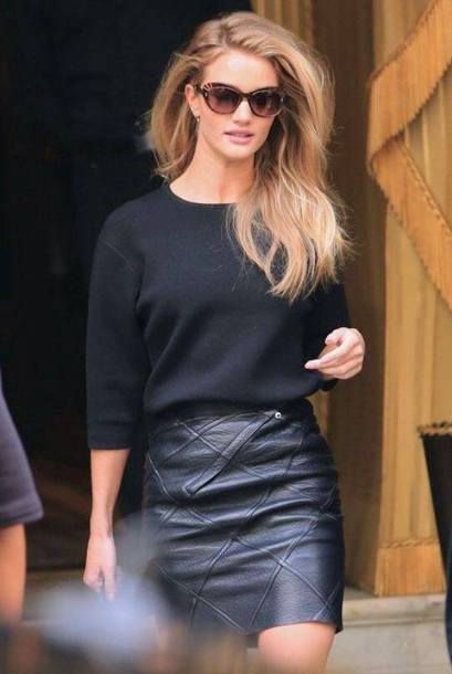 sweater leather black black sweater black leather skirt