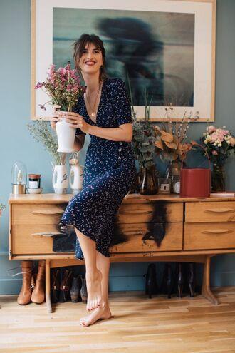 dress rouje blue dress wrap dress v neck v neck dress midi dress jeanne damas