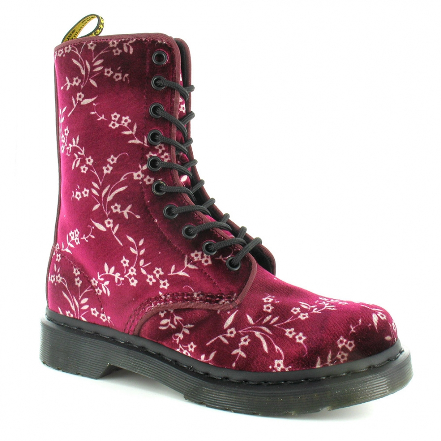 Dr Martens Avery Womens Velvet Blossom Floral Ankle Boots in Cherry Red at Scorpio Shoes