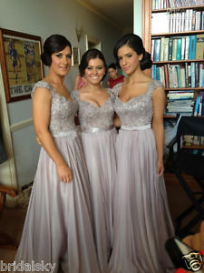Bridalsky Custom Made 2014 New Big Discount Cap Sleeve Long Bridesmaid Dresses | eBay