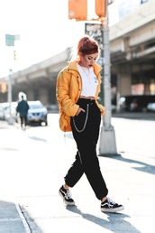 jacket,tumblr,yellow,yellow jacket,puffer jacket,pants,black pants,sneakers,vans,black sneakers,top,crop tops,white top