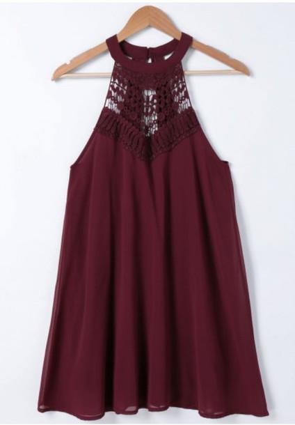 dress burgundy red dress fashion style trendy summer boho trendsgal.com