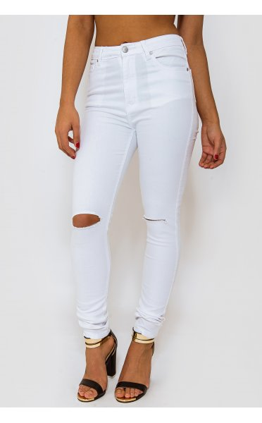 Keisa white knee ripped skinny jeans