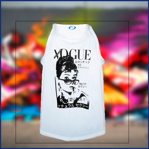 Audrey hepburn vogue inspired tank by sweetteesnow on etsy
