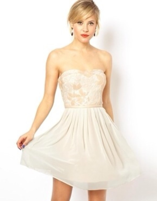 dress strapless dress short light pink