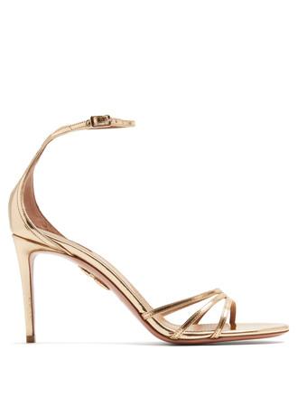 heel high sandals gold shoes