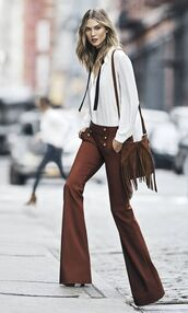 top,bell bottom pants,brown bell bottom pants,white brolise,white shirt,white button down shirt,brown crossbody bag,suede fringed bag,suede crossbody bag,suede bag,70s style,bell bottoms,crossbody bag,FRINGED CROSSBODY BAG,karlie kloss