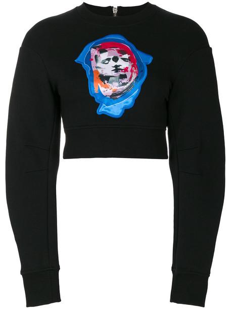 Versus - Bruce kiss cropped sweatshirt - women - Cotton - S, Black, Cotton
