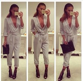 jumpsuit,beije,love,outfit,wrap,needtohave