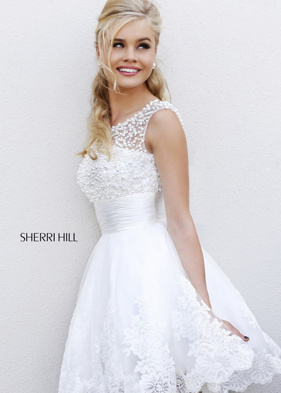 Sherri Hill 4302 White Pearl Beaded Top High Neck Prom Dress [Sherri Hill 4302 white] - $209.00 : Hot Sale Prom Dresses & Homecoming Dresses For Cheap