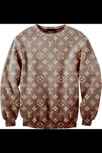 sweater louis vitton louis vuitton swag style outfit fashion hippie