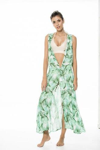 dress cover up green malai swimwear print bikiniluxe