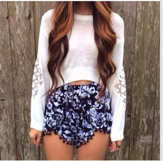 shorts clothes sweater white crop angle pattern print geo ornate hair accessory