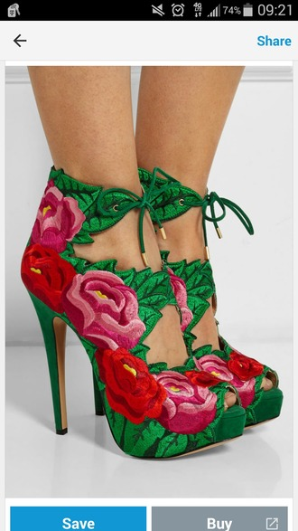 shoes high heels green high heels lace up heels lace up embroidered embroidery