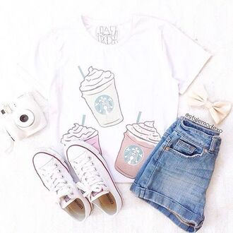 t-shirt jazrox hipster vintage style girly quote on it neon sexy tumblr cute girl cool fashion summer pretty trendy beach pastel beautiful instagram alternative swag hot kawaii purple edgy starbucks coffee starbucks t-shirt frappe milkshake lookbook