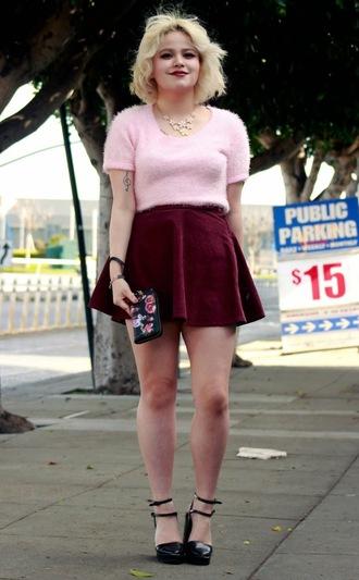 broke hell blogger velvet skirt mini skirt fuzzy sweater black heels