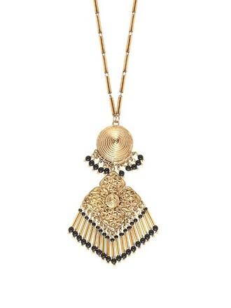 embellished necklace gold black jewels