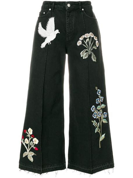 Alexander McQueen - embroidered patch wide leg jeans - women - Cotton/Brass/glass - 40, Black, Cotton/Brass/glass